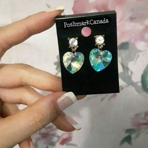 Crystal AB Color Changing Heart Earrings